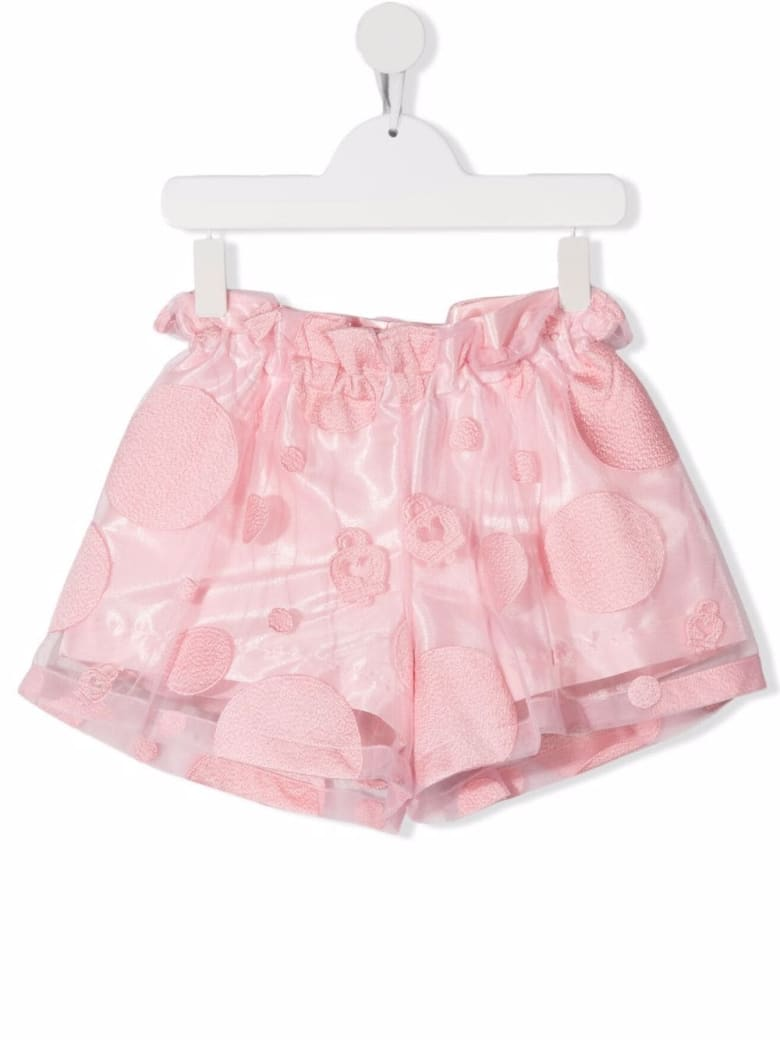 Simonetta Kids Shorts In Pink Tulle With Embroidered Polka Dots