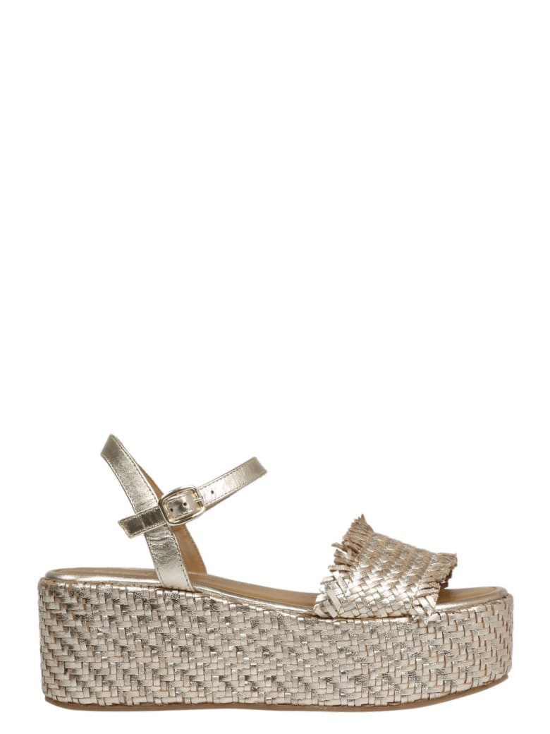 Coral Blue Woven Leather Wedge Sandals - Metallic