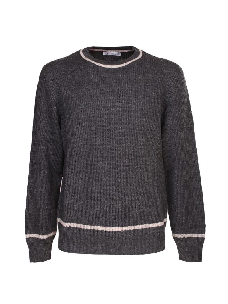 Brunello Cucinelli grey linen and cotton sweater - Grigio
