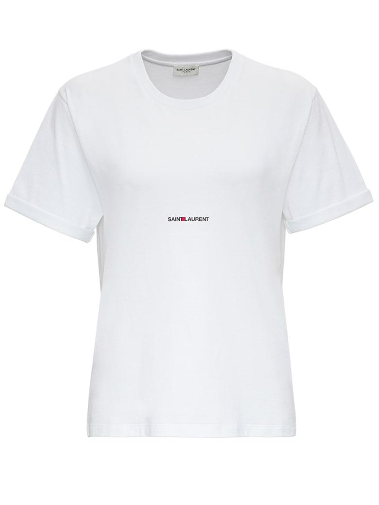 Saint Laurent Jersey T-shirt With Logo - White