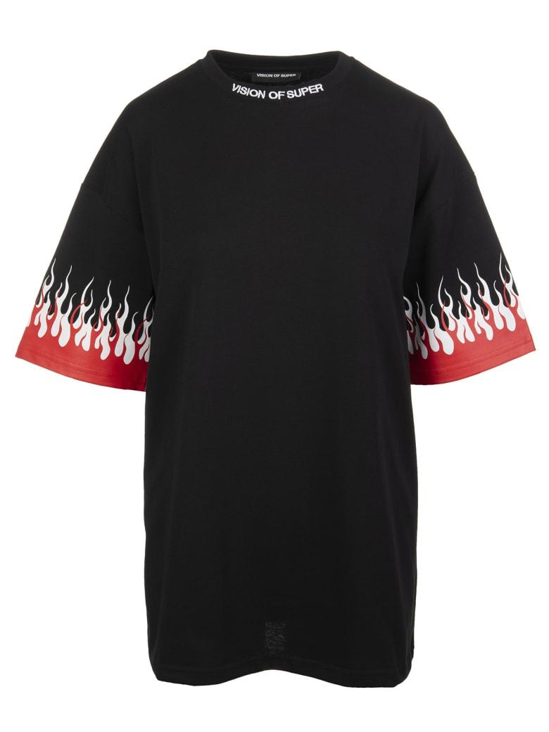 "Vision of Super Black ""double Flames"" Man T-shirt - Black"