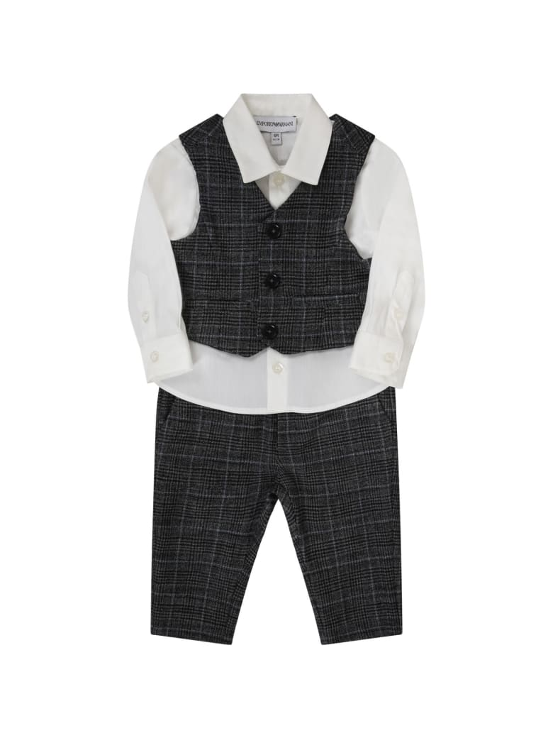 Armani Collezioni Grey Suit For Baby Boy With Iconic Eagle - Grey