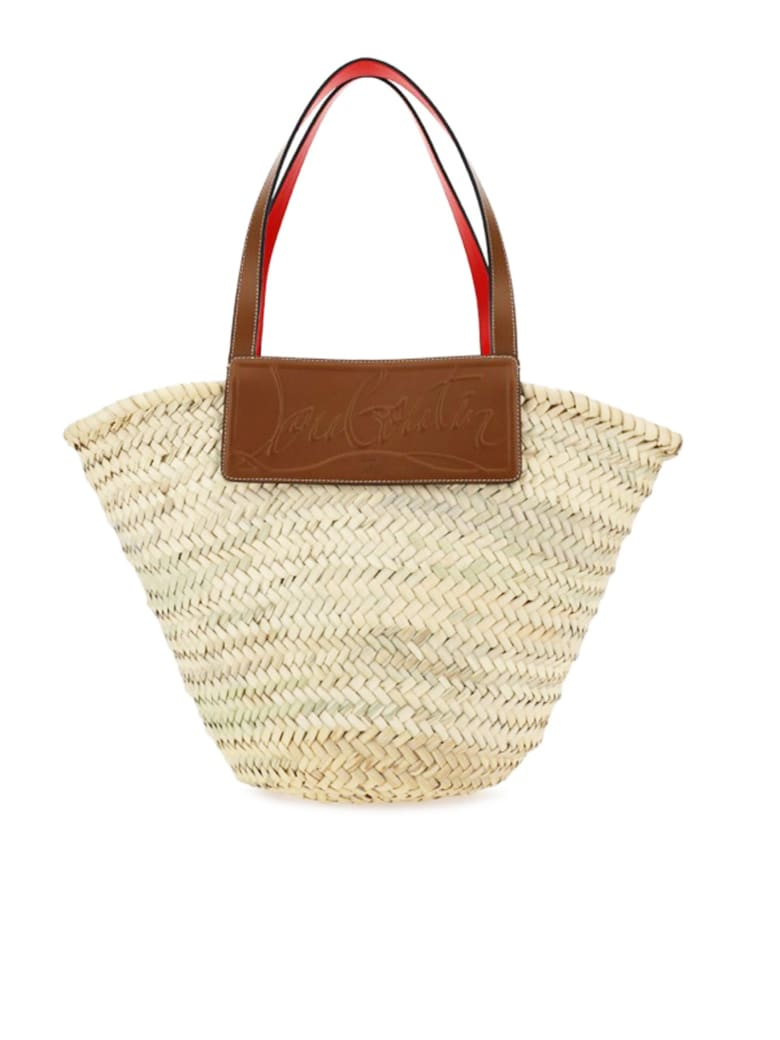 Christian Louboutin Loubishore Woven Straw/calf Paris Beige Raffia Brown Leather Bags - BEIGE