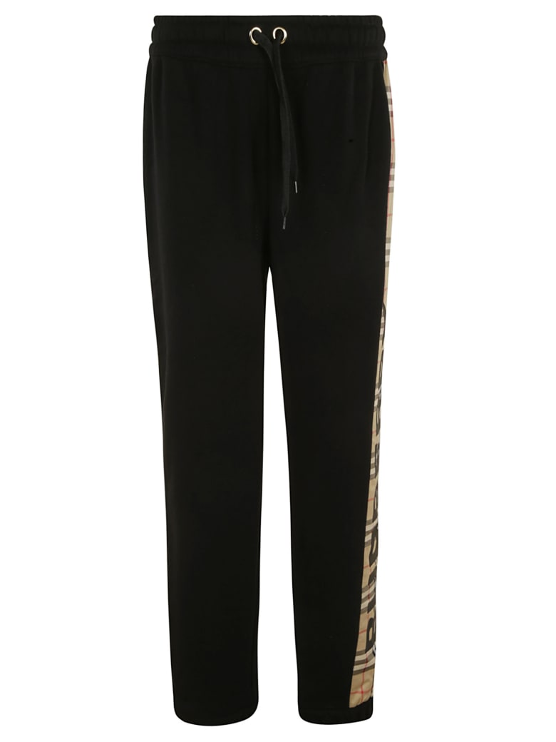 Burberry Side Check Print Track Pants - Black/Archive Beige