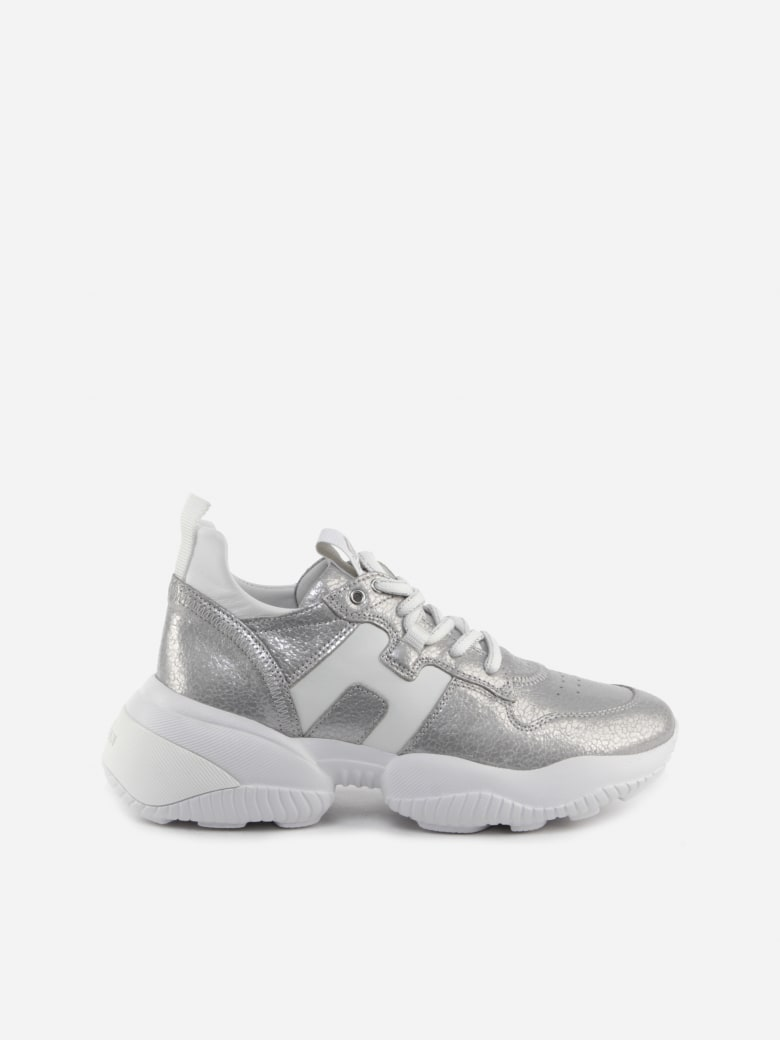 Hogan Interaction Sneakers In Leather With Pearly Finish - Argento e Bianco