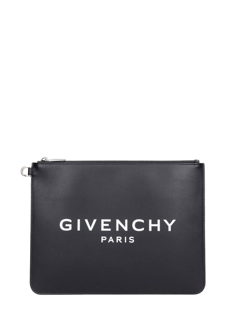 Givenchy Large Zipped Clutch In Black Leather - black