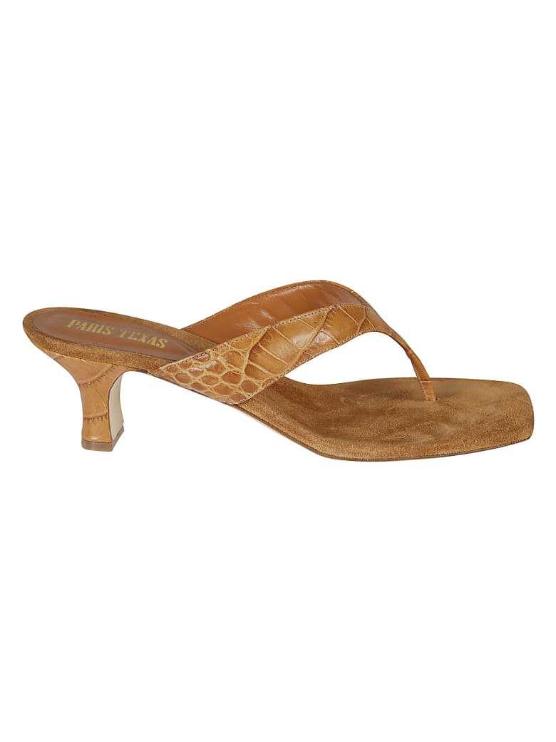 Paris Texas Logo Sole Detail Thong Mules - Brown
