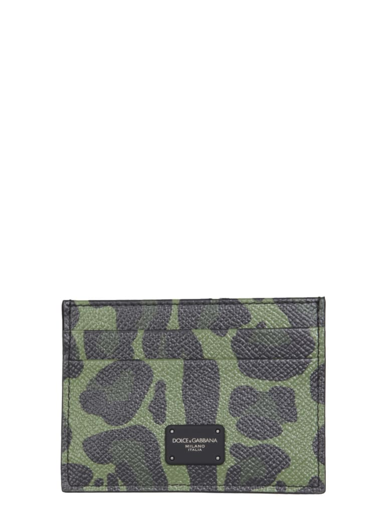 Dolce & Gabbana Card Holder With Dauphine Print With Logo - MILITARE