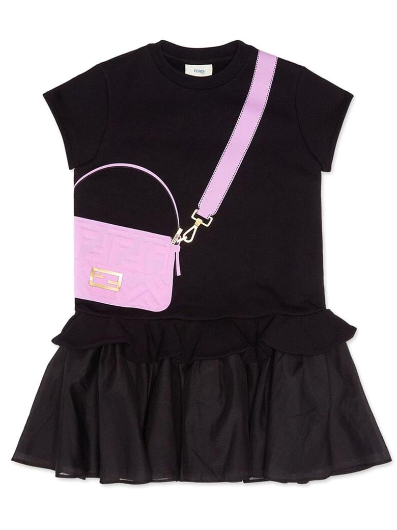 Fendi Black Organza And Fleece Junior Dress - Nero