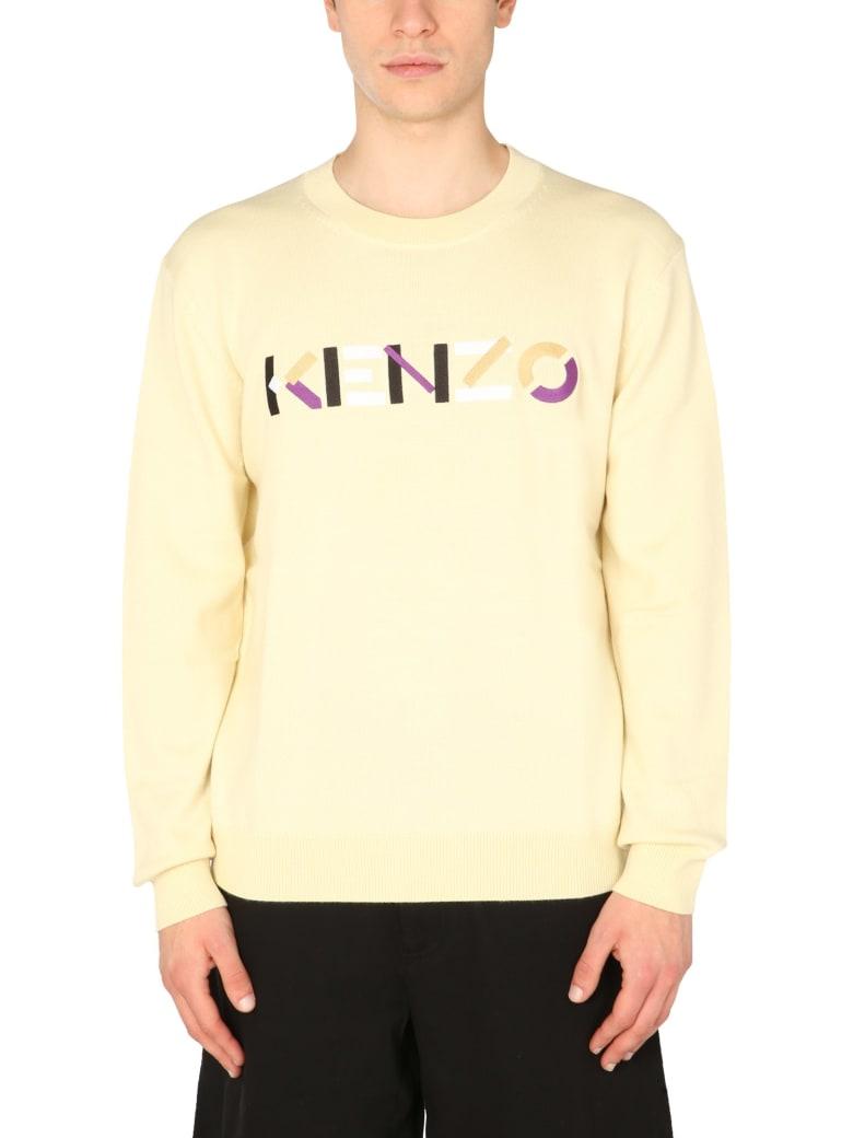 Kenzo Sweater With Multicolor Logo - Crema