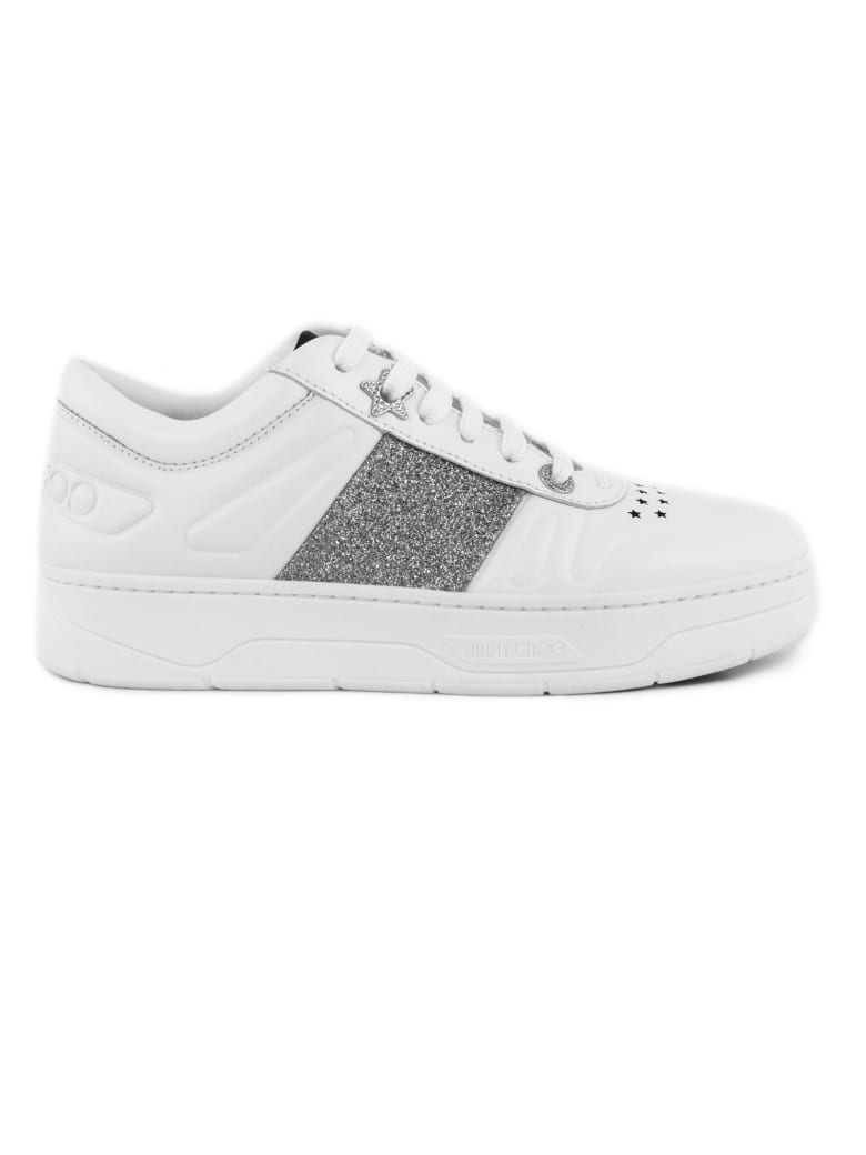 Jimmy Choo White Calf Leather Lace-up Trainers - Bianco