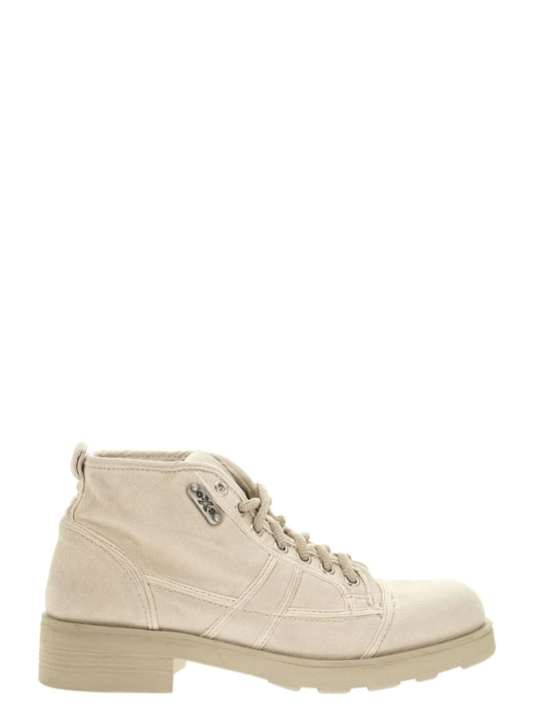 OXS Frank 1000 - Lace-up Ankle Boot In Canvas - Beige
