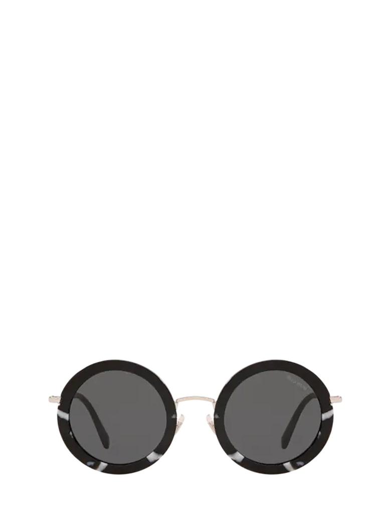 Miu Miu Miu Miu Mu 59us Havana Black / White Sunglasses - HAVANA BLACK / WHITE