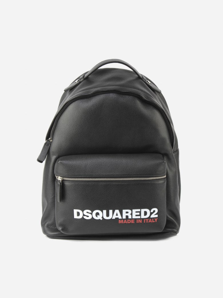 Dsquared2 Leather Backpack With Logo Print - Black