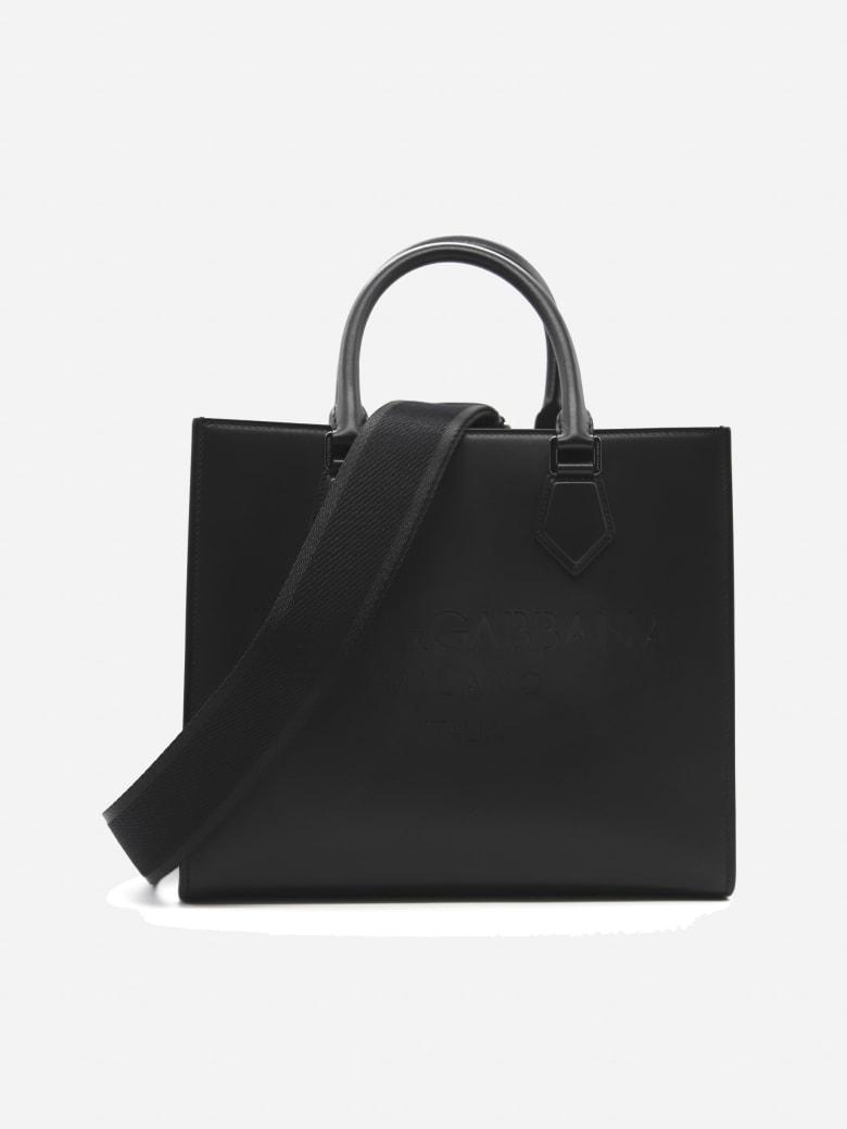 Dolce & Gabbana Edge Leather Bag With Tone-on-tone Logo Engraving - Black