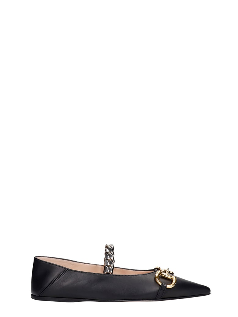 Gucci Ballet Flats In Black Leather - black