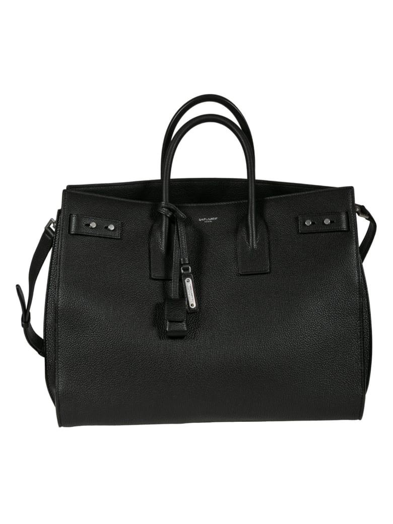 Saint Laurent Detachable Strap Tassel Detail Tote - Black