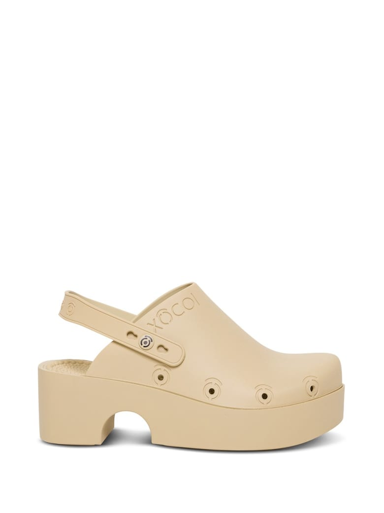 Xocoi Beige Recycled Rubber Clogs With Logo - Beige