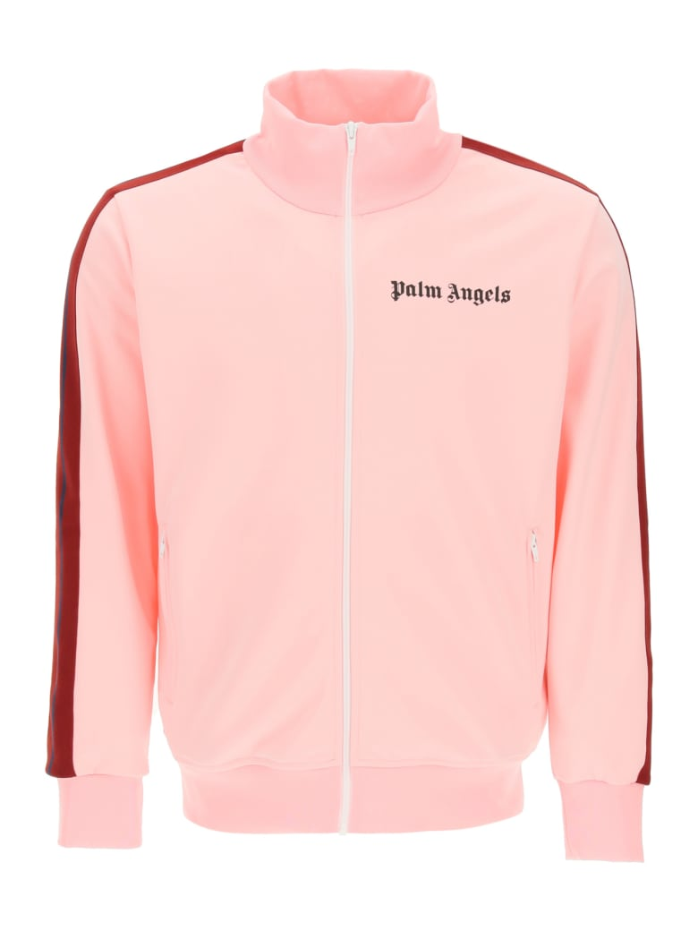 Palm Angels Zip-up Sweatshirt With Bands - Pink Burgundy