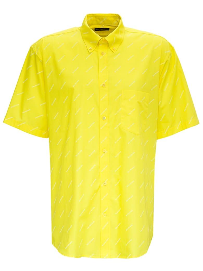 Balenciaga Yellow Cotton Shirt With Allover Logo - Yellow