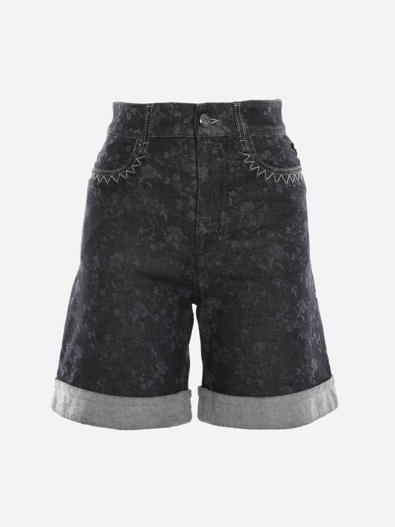 Chloé Stretch Cotton Shorts With East-west Embroidery - Grey