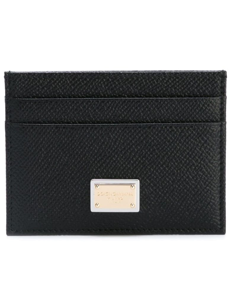 Dolce & Gabbana Card Holder In Hammered Leather With Logo - Black