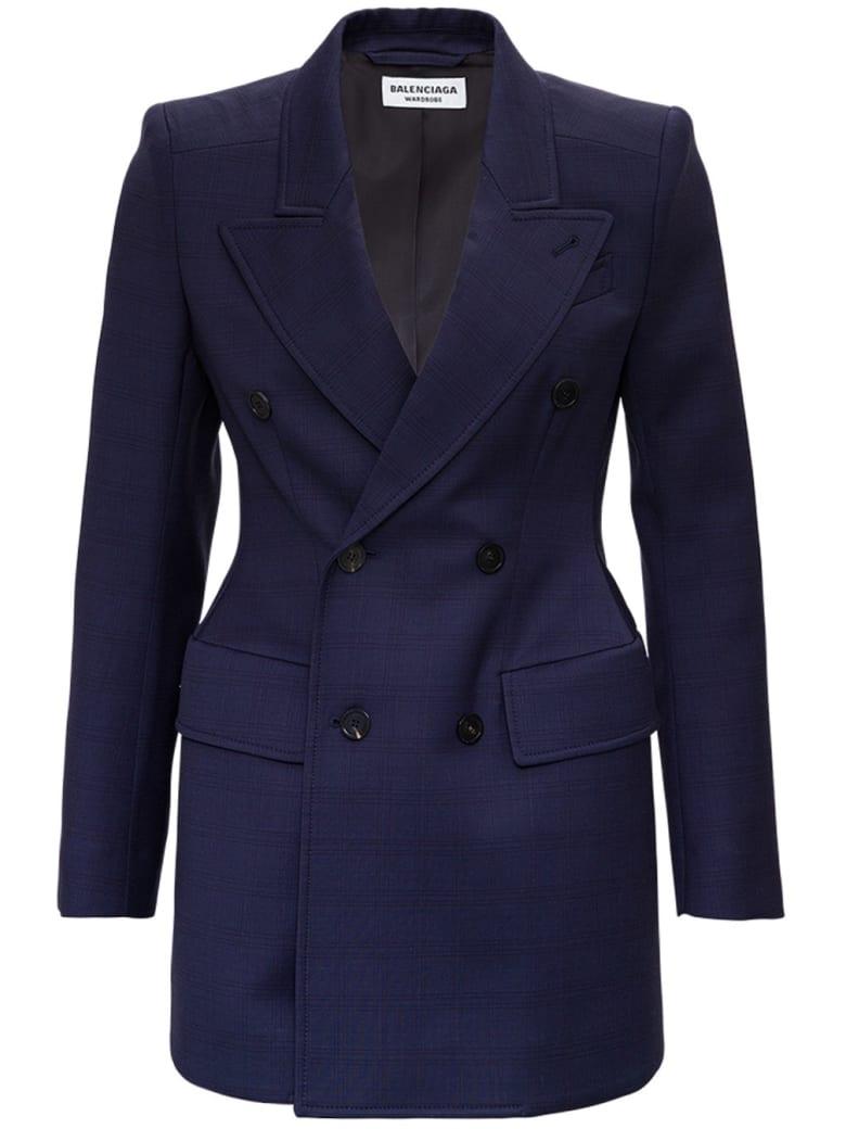 Balenciaga Double-breasted Blue Check Wool Blazer - Blu