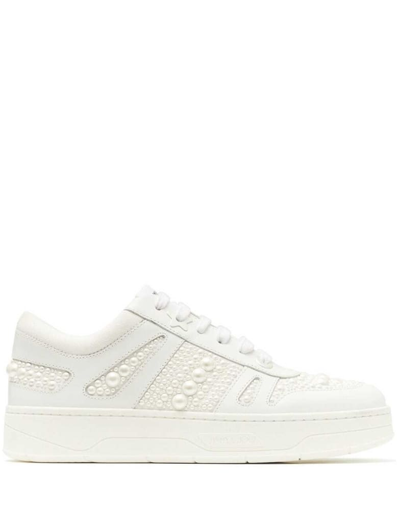 Jimmy Choo Hawaii Sneakers In White Leather With Pearls - White