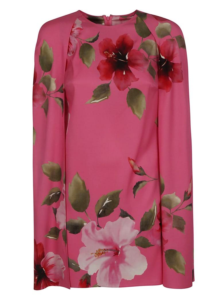 Valentino Floral Print Short Dress - Shocking Pink/Multicolor