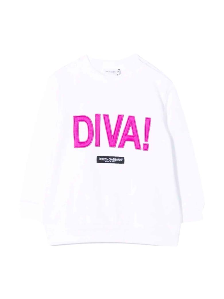 Dolce & Gabbana Newborn White Sweatshirt - Bianco