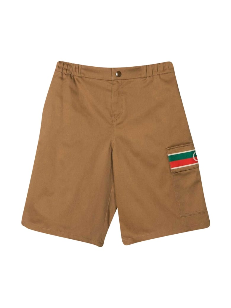 Gucci Shorts With Web Decoration - Beige