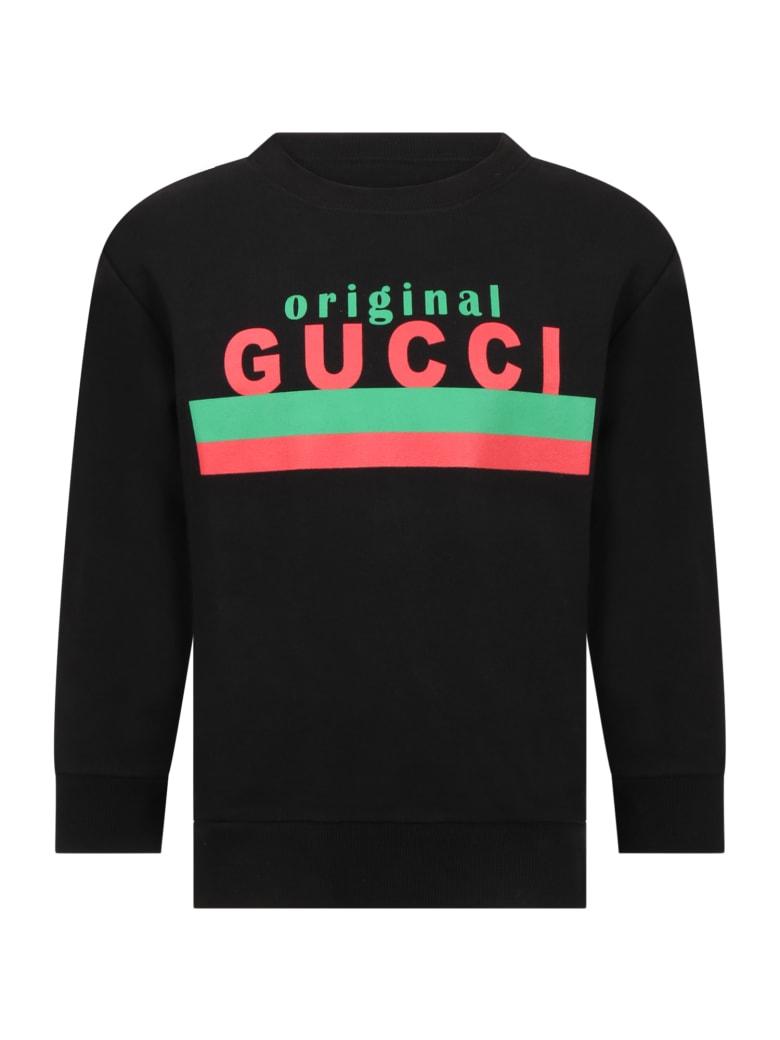 Gucci Black Sweatshirt For Kids With Logo