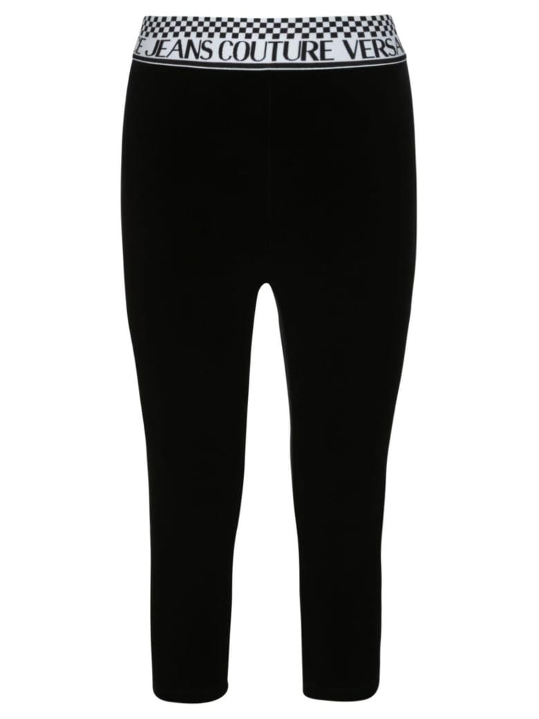 Versace Jeans Couture Velvet Stretch Leggings - Black/White