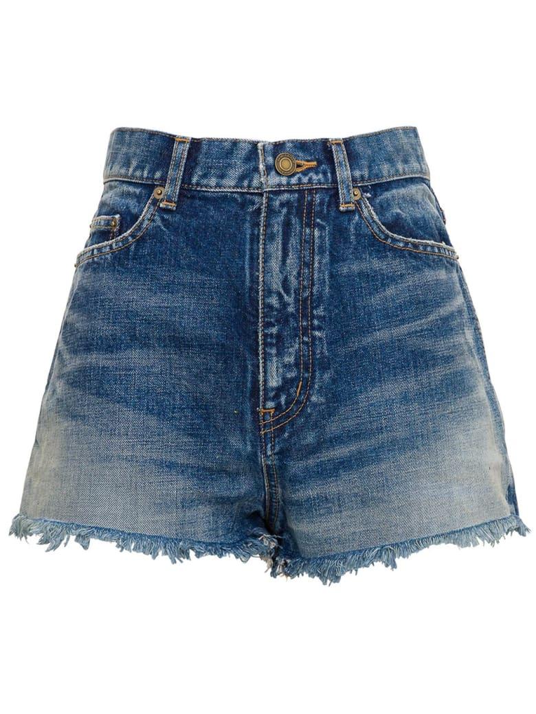 Saint Laurent Slim Fit Shorts With Fringed Bottom - Blu