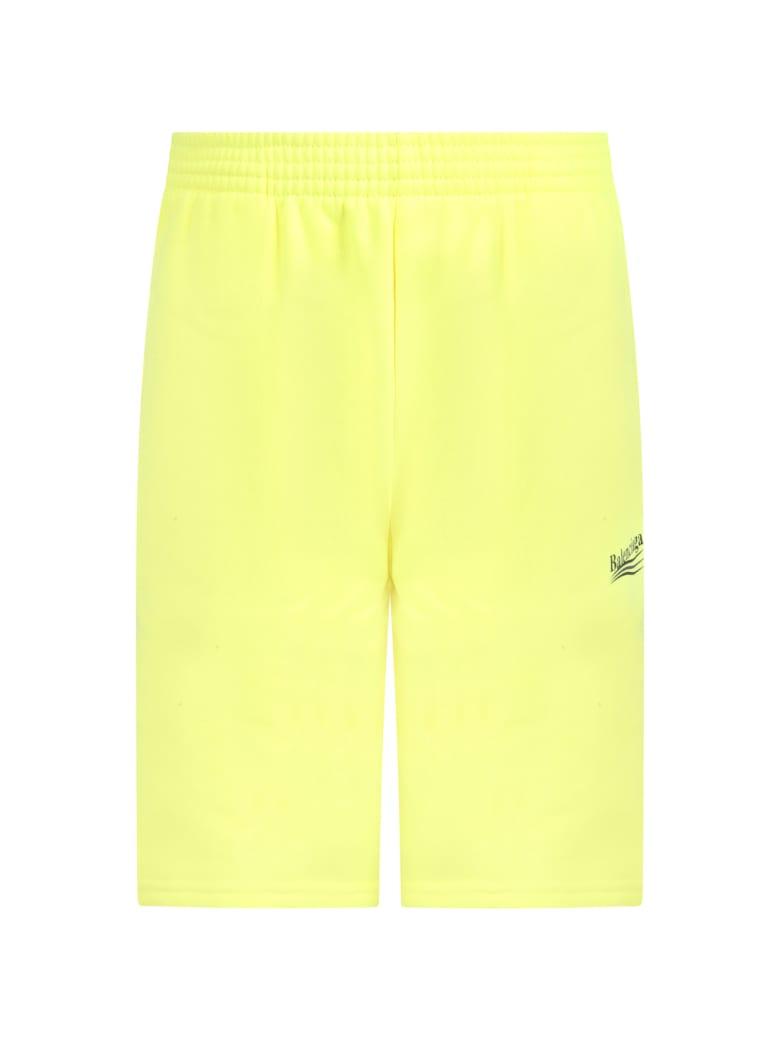 Balenciaga Neon Yellow Short For Kids With Logo - Yellow
