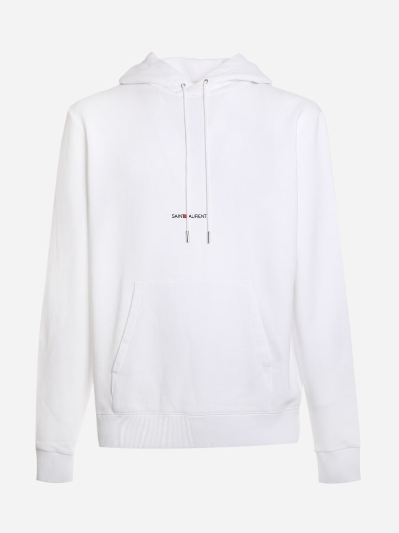 Saint Laurent Cotton Sweatshirt With Logo Print - White