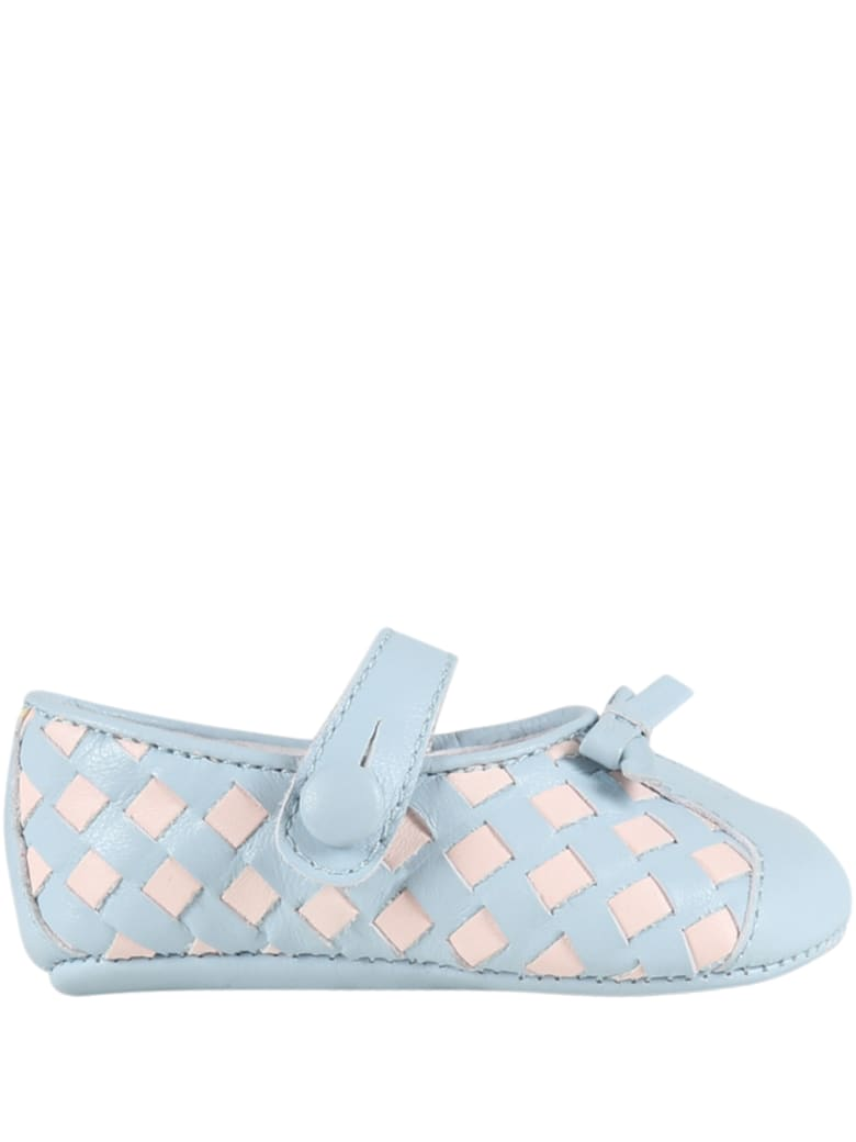 Gallucci Multicolor Ballerina Flats For Babygirl - Light Blue