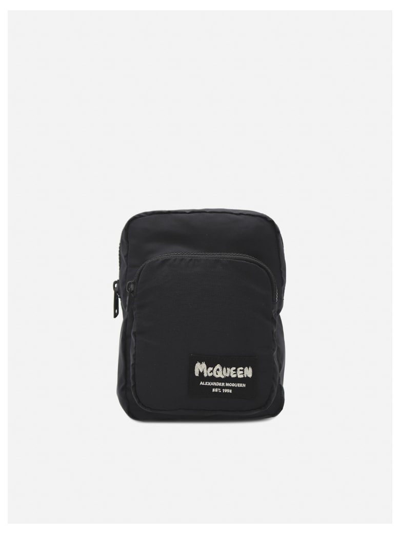 Alexander McQueen Waist Bag In Technical Fabric With Jacquard Logo - Black
