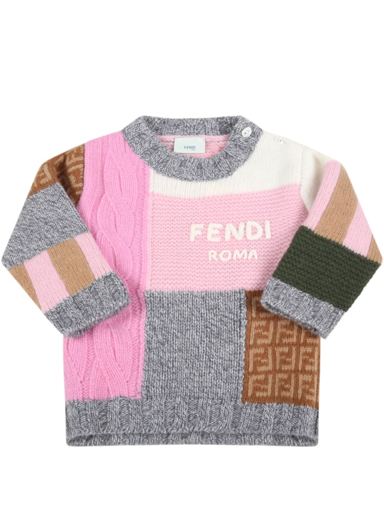 Fendi Multicolor Sweater For Baby Girl With Logo - Multicolor