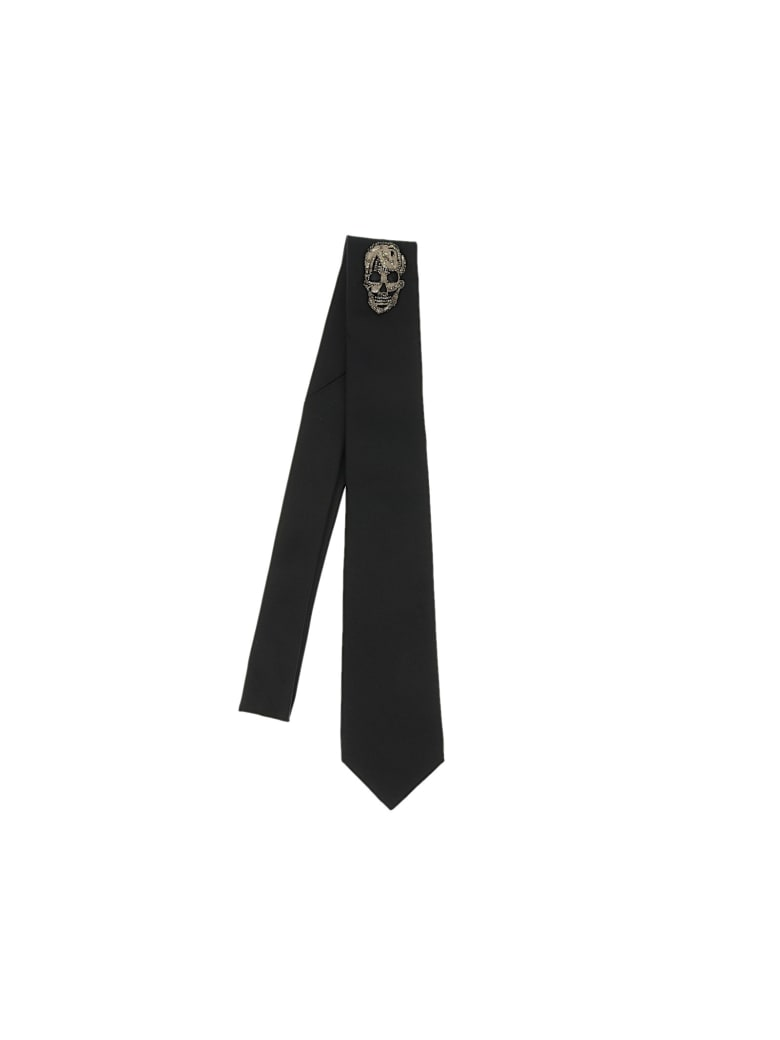 Alexander McQueen Gravelled Skull Tie - Black