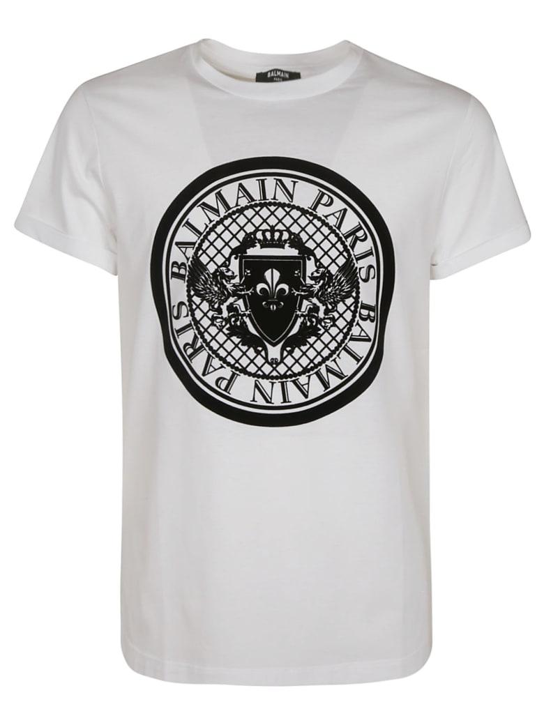 Balmain Round Logo T-shirt - White