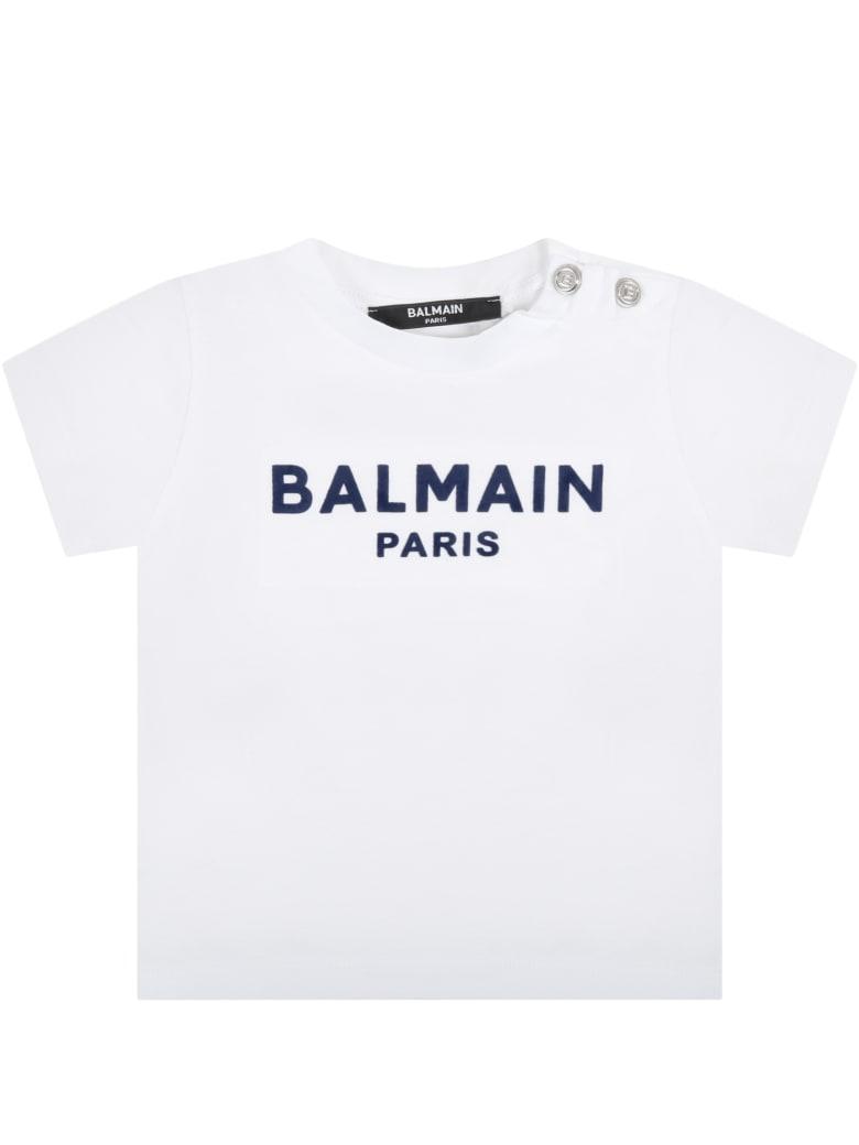 Balmain White T-shirt For Baby Kids With Logo - White