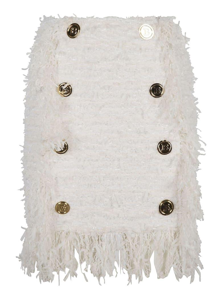 Balmain Fringe Trimmed Button Embellished Skirt - Bianco