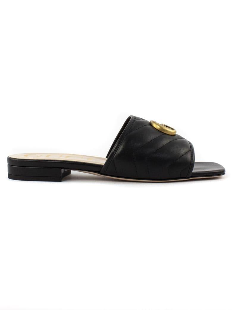 Gucci Black Matelassé Leather Slide - Nero