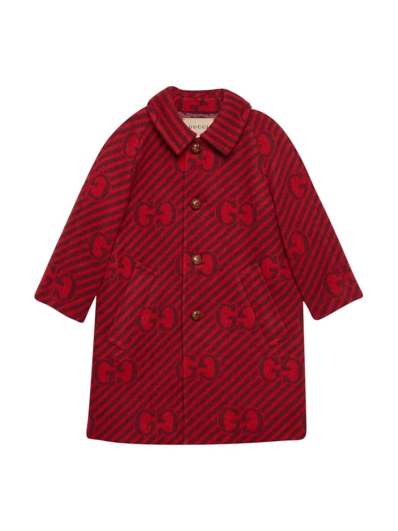 Gucci Red Coat With Logo And Stripes, Long Sleeve, Classic Collar And Frontal Closure - Rosso