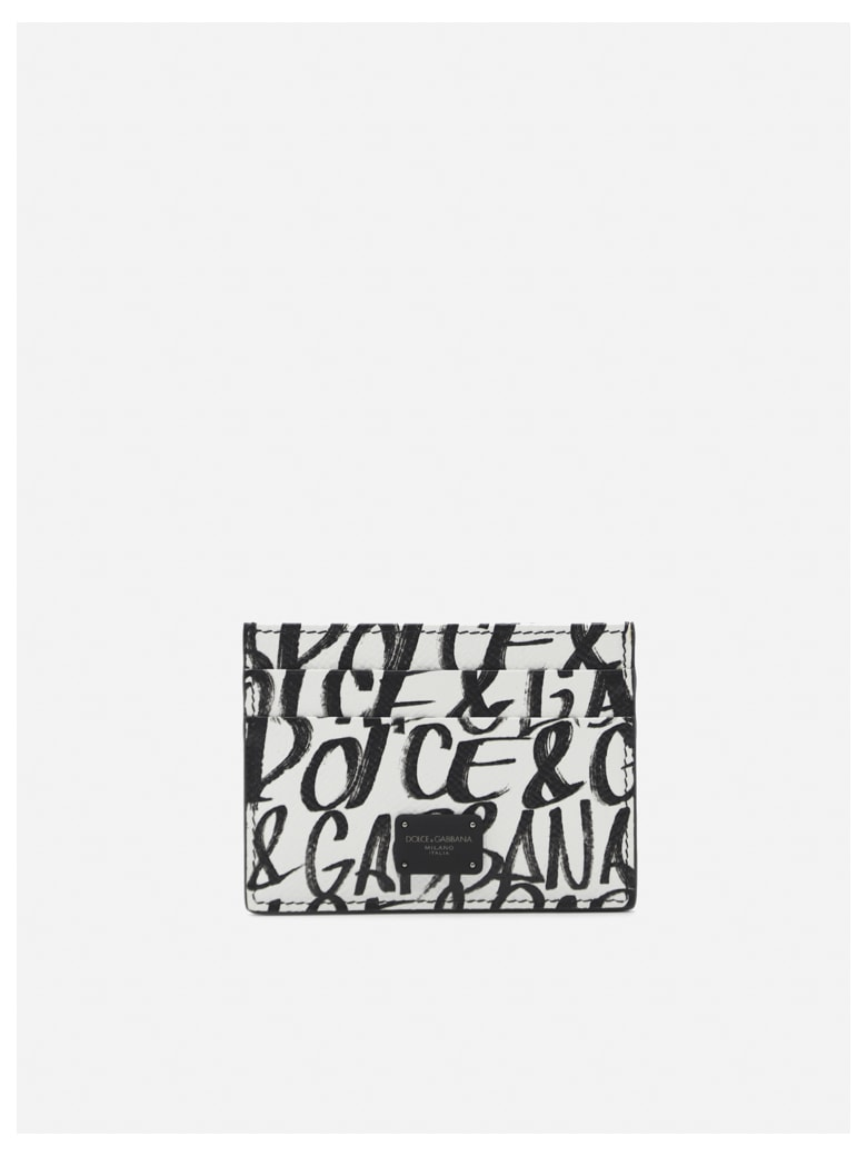 Dolce & Gabbana Leather Card Holder With All-over Graffiti Print - White