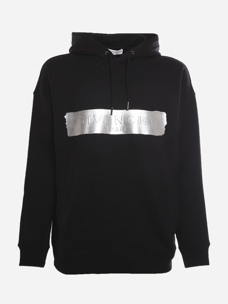 Givenchy Cotton Sweatshirt With Embossed Logo And Metallic Effect Detail - Black