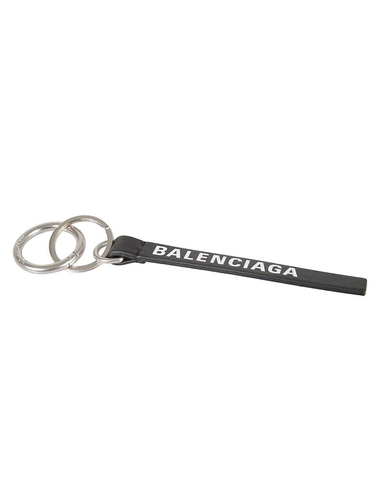 Balenciaga Logo Print Keyring - NERO
