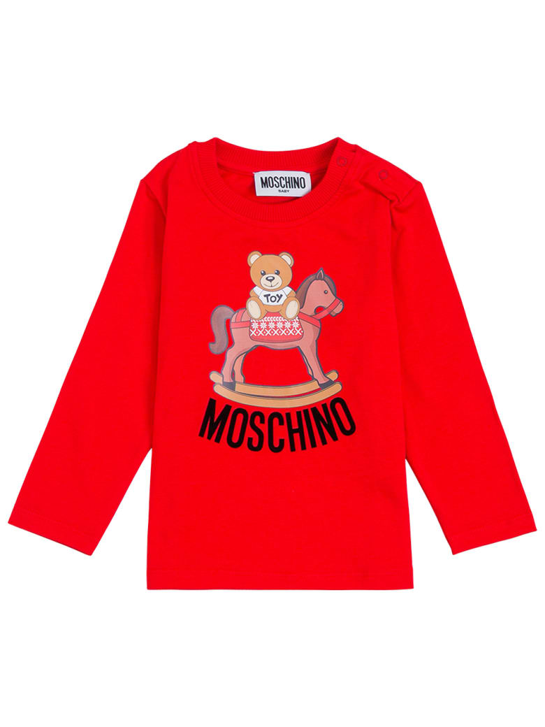 Moschino Long-sleeved Red Cottont-shirt With Teddy Bear Front Print - Red