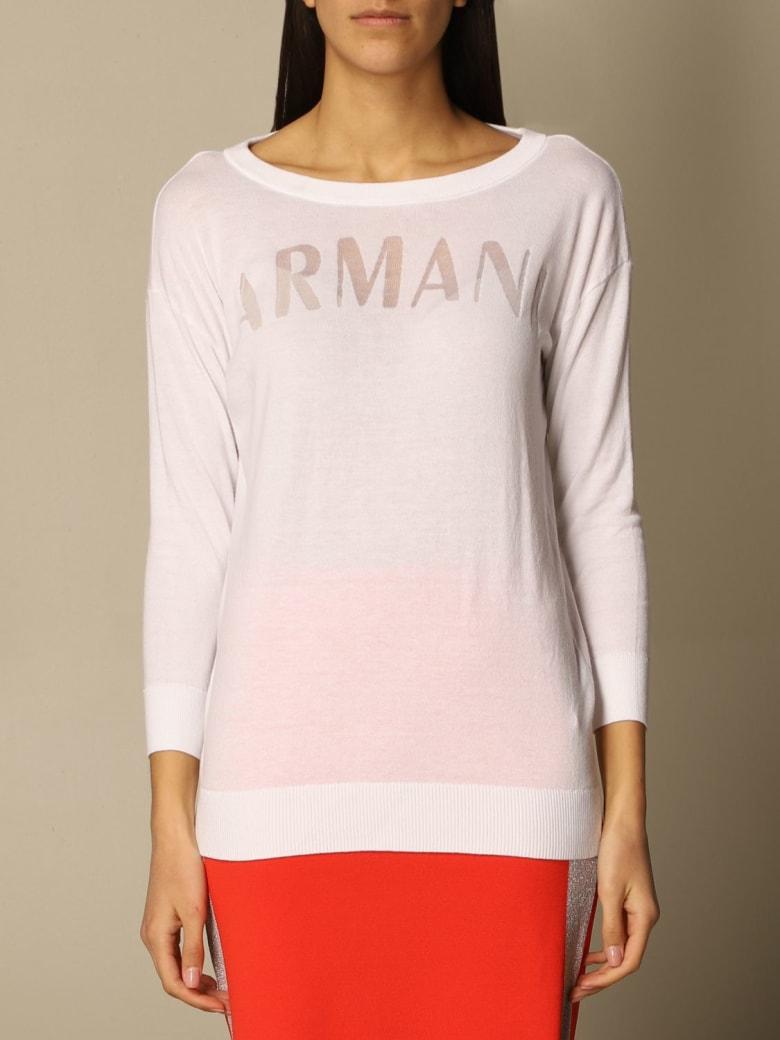 Armani Collezioni Armani Exchange Sweater Armani Exchange Crewneck Sweater In Cotton Blend - White